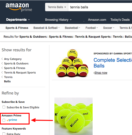 Amazon prime filter box
