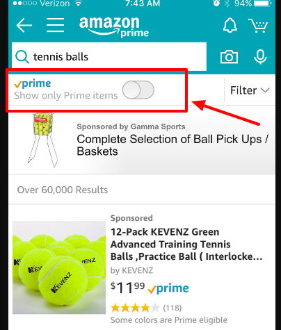 Amazon app prime filter
