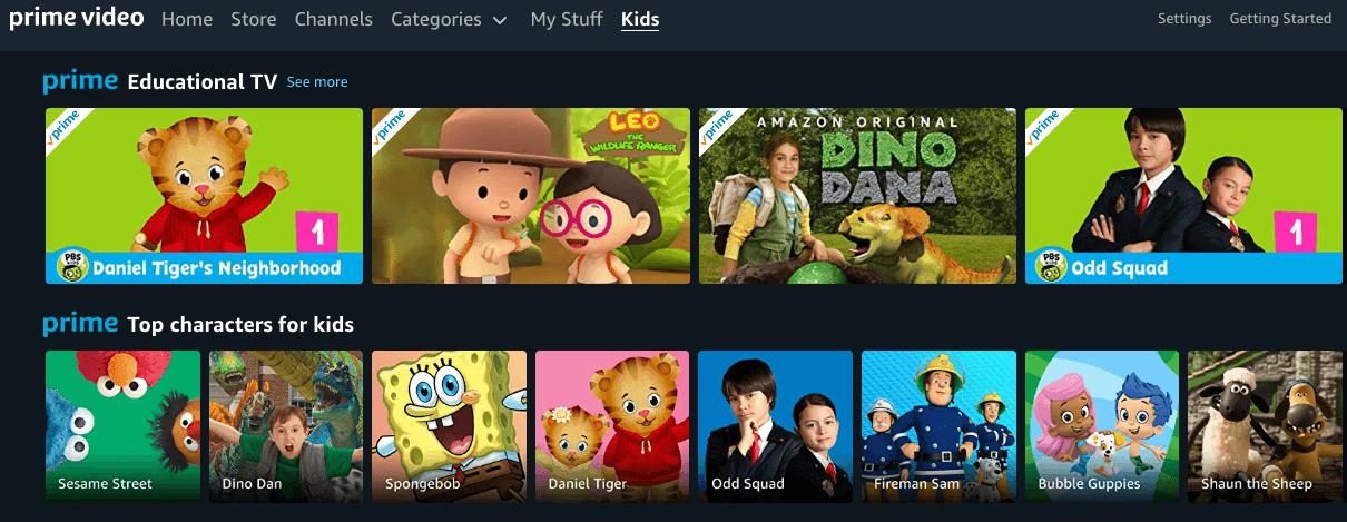 Amazon Prime Instant Video Kids Programming